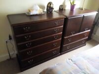 Pair of Schreiber mahogany-finish bedroom cabinets - a 5-drawer chest and a 2-drawer tallboy