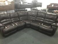 Top quality brown leather recliner Corner sofa