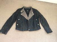 Ladies 100% sheep skin Leather Jacket, New, Italian leightweight with merino shearling collar
