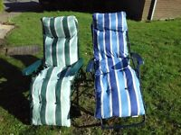 TWO RELAXER CHAIRS IDEAL GARDEN OR PATIO, MULTI POSTION