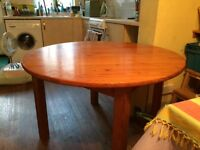 Round Pine Table. Screw on legs. Good condition. Diameter 114cm approx. £10
