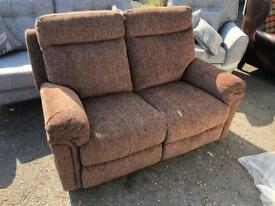 New/Ex-display** Brown fabric reclining 2 seater sofa ,