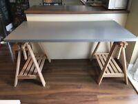 IKEA Linnmon Desk & Beech Finnvard Trestles