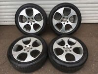 17'' VW MONZA SPORT ALLOY WHEELS TYRES GTD GTI R LINE ALLOYS GOLF JETTA MK5 MK6 MK7 A3 CADDY 5X112