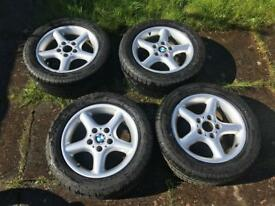 """BMW 16"""" Alloy Wheels with good tyres"""