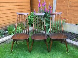 Ercol goldsmith set of 3 chairs plus seat pads