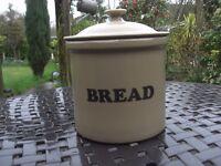 Vintage Stoneware Bread Crock/ Bin With Lid