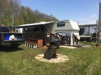 FOR SALE: GLENDETTE 5TH WHEEL TRAILER C/W 8FT X 24FT NEWER DECK