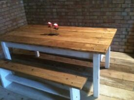 solid farmhouse dining table set