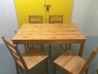 Pine table and 4 chairs. Deliveries are also available