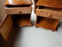 Two antique pine bedside tables