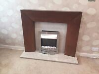 Electric Fire, Marble Hearth and Wood Effect surround - Good condition