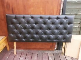 King Size Headboard with Black Leatherette Design