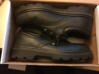 TOESAVERS Black Leather 3 Eyelet Safety Steel Toe Shoe Size 8