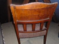 small vintage armchair/ TV chair wooden arms, vgc for age, checked fabric, nice upholstery project?