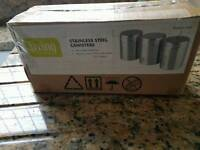Argos stainless steel canisters unused boxed