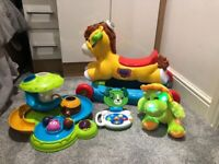 VTech rock & ride pony, glow Dino, leap frog scout laptop & Chad valley toy