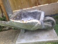 Vintage Old Stone Concrete Wheelbarrow planter for sale
