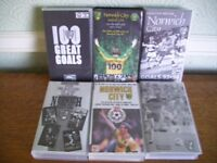 Norwich City Football Club, 6 assorted VHS videos, all original, boxed, good condition, £3 each