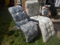 GARDEN CHAIRS ** ONE FOLD UP DECK CHAIR AND ONE RECLINING CHAIR - WITH OR WITHOUT PADDED CUSHION £15