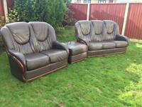 Rosini Italian leather sofa suite 3 piece 3&2 with poufee. Free delivery