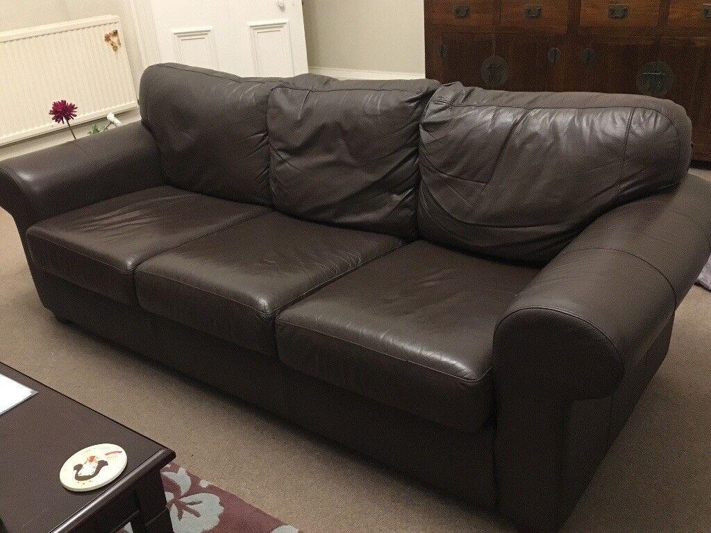 Three Seater Brown Leather Sofa In West End Edinburgh