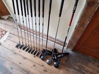 Set of mixed golf clubs