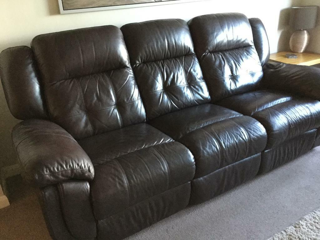 La Z Boy Brown Leather Phoenix Recliner Sofa With Chair And Storage Footstool