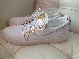 Giuseppe Zanotti White and Gold Sneakers
