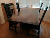 Black Marble Table and 4 chairs