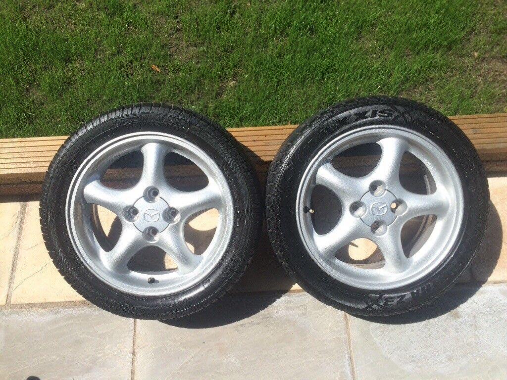 "x2 Mazda MX-5 Mk2 OEM 15"" Alloy Wheels - 4x100"