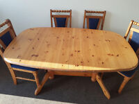 Wooden extendable dining set with 4 chairs (Delivery)