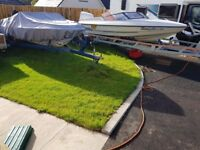 Two Fletcher Speed Boats Projects Spares or Repair with one Blue Trailer