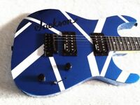 Jackson Dinky JS Electric Guitar EVH Look Metallic Blue inc Guitar Bag