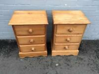 Pair solid pine bedsides (delivery available)
