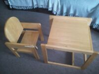 Solid Pine table and chair from Mothercare for kids up to 4 yrs
