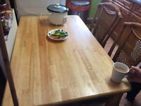Solid pine table and 3 chairs