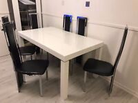 dining table and chairs 6 in white gloss