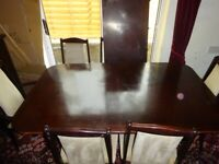 dining room table with 4 chairs & 2 carver chairs, with extender