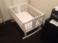 Rocking baby cot white bed white mattress good conditon original material lining
