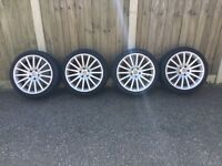 Four wheels and tyres 18in 225/40ZR18 92W needs two new tyres was fitted to vw Passat estate