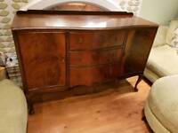 Vintage Retro Large 3 Drawer Dresser Sideboard Console Cocktail Cabinet Queen Anne Style Legs
