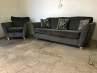 Grey crushed velvet dfs 3 seater & arm chairs of a, suite, furniture 🚛🚚