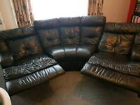 Real leather black reclining corner sofa
