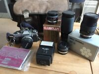 Olympus om 20 with 4 lenses + accessories