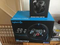 Logitech steering wheel, pedals and gear shifter