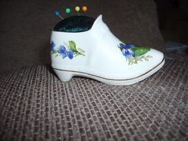 Novelty unique hand crafted pin cushion in vintage bone china shoe ornament