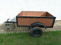 4ft x 3ft Wooden Trailer with galvanised floor and Lights
