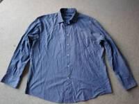 Maine New England shirt, blues and white stripes, size large