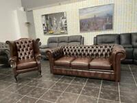 Real leather chesterfield sofa with queen armchair
